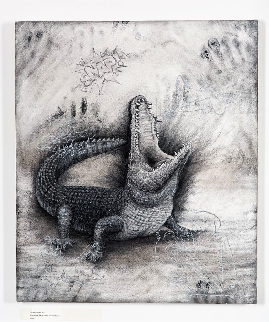 The Nile Crocodile (small), 2021. Charcoal and chalk on primed canvas. 71 x 61 cm.