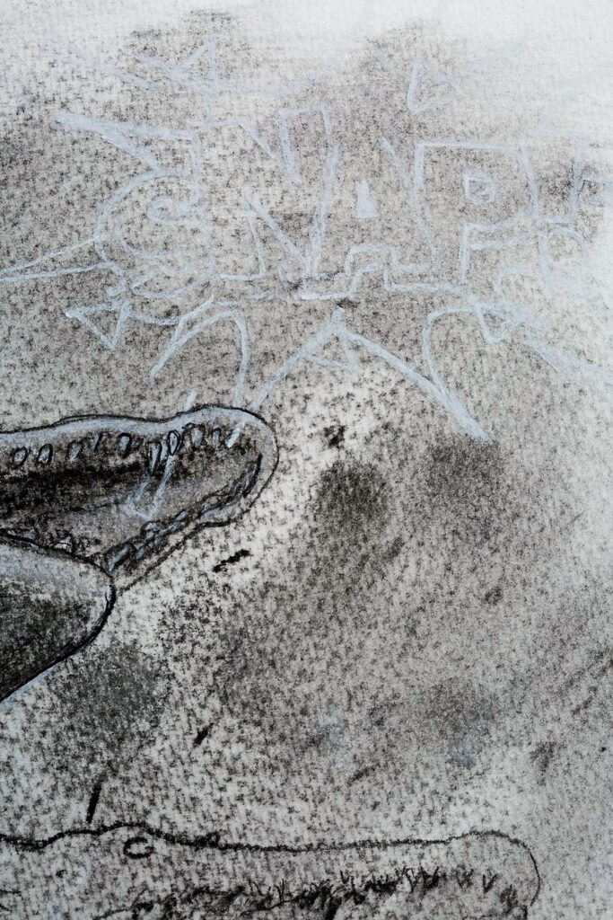 Croc in motion. Detail