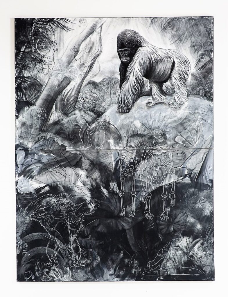 The Gorilla, 2021. Charcoal, chalk, emulsion and gesso on canvas. 400 x 300 cm.