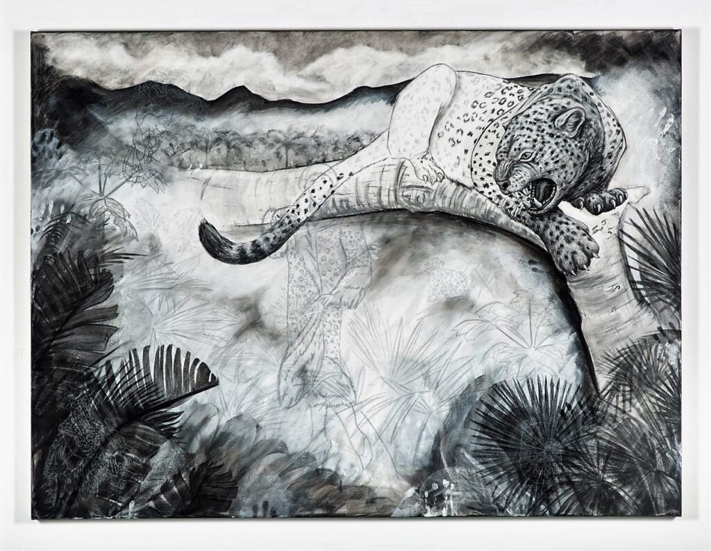 The Leopard, 2021. Charcoal, gesso and chalk on canvas. 150 x 200 cm.